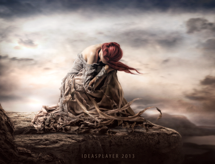 Фото Грустная девушка сидит на краю скалы, by PetyaPlamenova