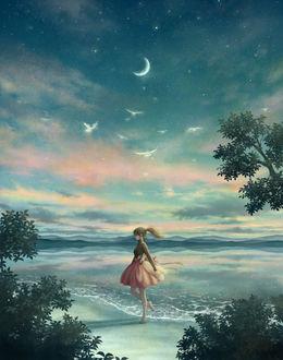 Фото Девочка стоит у моря, by kazami395