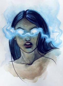 Фото Девушка с дымом перед лицом