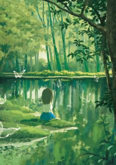 Фото Девочка сидит у пруда