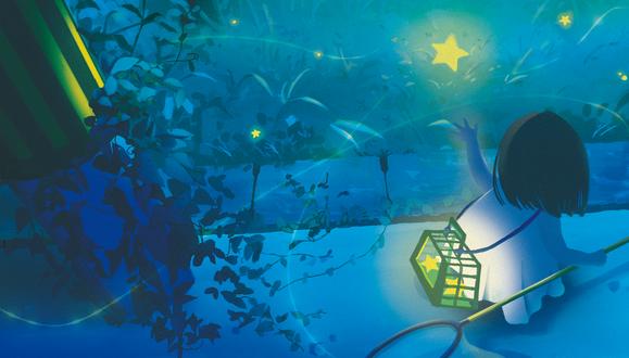 Фото Девочка ловит сачком звезды и кладет их в клетку