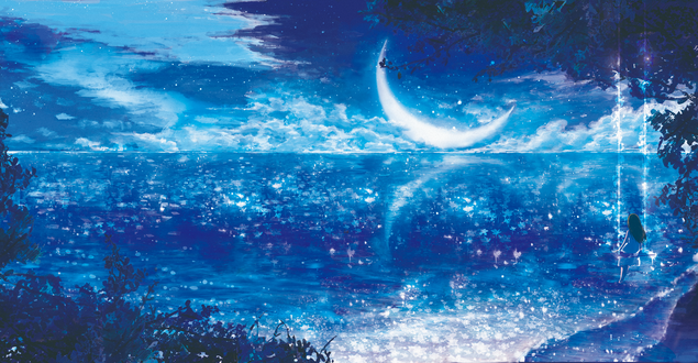 Фото Девочка сидит на качелях, привязанных к дереву у водоема, над которым светит месяц в ночном небе