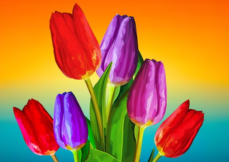 Фото Весенние разного цвета тюльпаны, by elviraNL