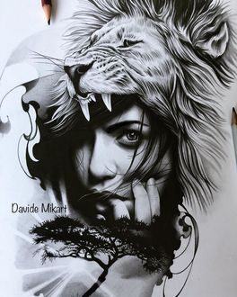 Фото Модель Topaz Arbell в пасти льва, by Davide Mikart