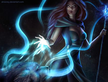 Фото Девушка со светящейся магией, by Alrooney