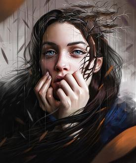 Фото Грустная девушка с растущим из головы деревом, art by vurdeM