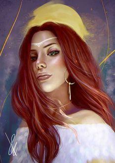 Фото Девушка с длинными волосами на фоне солнца, by palsie