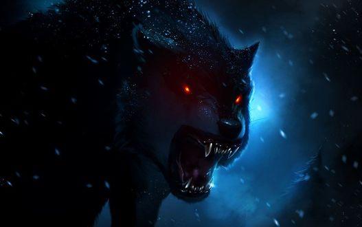 Фото Волк оборотень со светящимися красным глазами