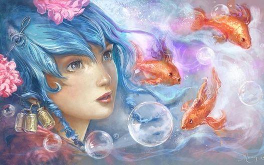 Фото Девушка с голубыми волосами, by Deevad