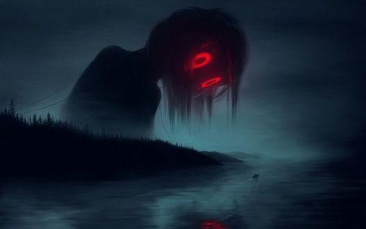 Фото Девочка-приведение с красными светящимися глазами смотрит в воду, выглядывая из-за деревьев, by Klaufir