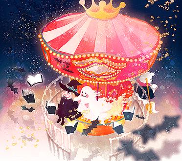 Фото Ведьмочка и привидение катаются на карусели ночью