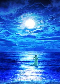 Фото Девушка стоит в море на фоне ночного неба и полной луны, by Kupe