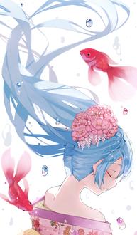 Фото Vocaloid Hatsune Miku / Вокалоид Хатсунэ Мику с цветами в волосах под водой и две рыбы