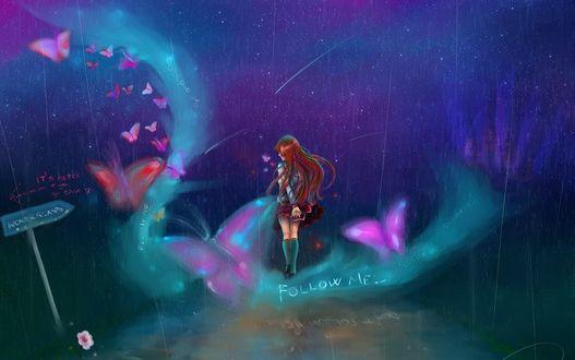 Фото Девушка стоит под дождем в окружении бабочек, на фоне звездного неба (Wonderland / Страна Чудес, Its better if you go back / Будет лучше, если ты вернешься, Follow me / Следуй за мной)