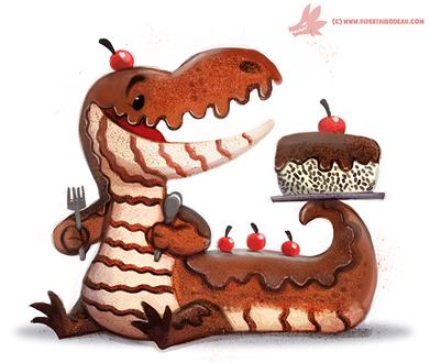 Фото Шоколадный динозаврик с тортом, by Cryptid-Creations