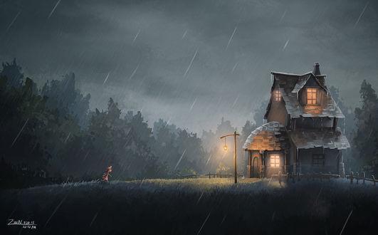 Фото Девочка бежит к маленькому домику, спасаясь от дождя, by ZyuN