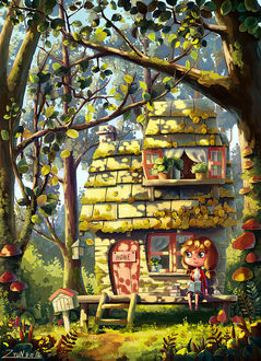 Фото Девочка сидит на крыльце своего маленького домика, стоящего в лесу на опушке (home / дом), by ZyuN