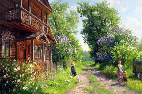 Фото Деревенский домик у дороги, художник Владимир Жданов