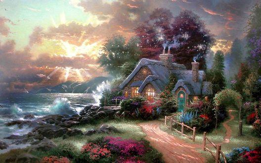 Фото Сказочный дом с красивым садом на берегу моря, художник Thomas Kinkade