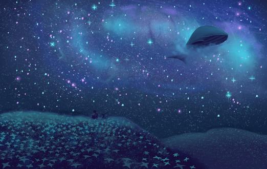 Фото Маленький человек сидит с телескопом на усыпанном звездами холме, наблюдает за китом парящим в ночном звездном небе, by saladdata