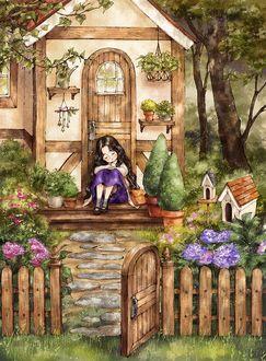 Фото Милая девочка сидит на пороге домика, от Aeppol