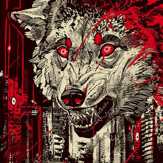 Фото Морда кровавого волка над городом, by Alaiaorax