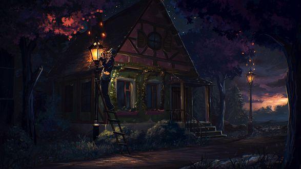 Фото Домик в ночи с горящим фонарем, перед которым старик стоит на лестнице, художник Артем sylar Артяков
