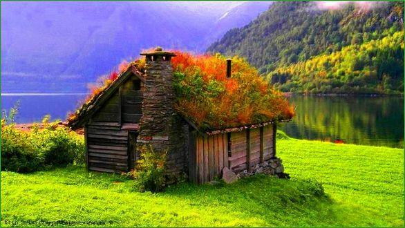 Конкурсная работа Норвежская деревянная избушка у горного озера
