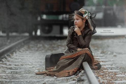 Фото Девочка сидит на рельсах, фотограф Malika Drobot