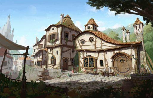 Фото Двухэтажный белый дом с круглой дверью на окраине города, возле на скамейке сидит старик