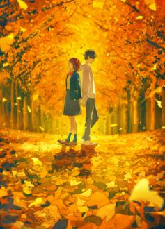 Фото Парень с девушкой стоят под листопадом