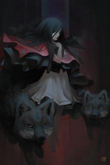 Фото Девушка с книгой и два черных волка, by Nekuro3