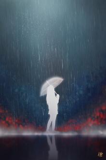 Фото Силуэт девушки с зонтом, by Nekuro3