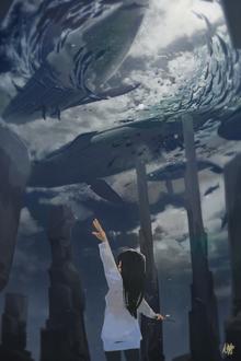 Фото Девочка смотрит на китов и рыбок в облачном небе, by Nekuro3
