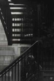 Фото Грустная девушка сидит на лестнице, by Nekuro3