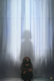 Фото Грустная девушка сидит на полу, позади нее за занавеской видна тень, by Nekuro3