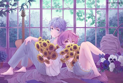 Фото Парень с девушкой сидят спина к спине с букетами подсолнухов, by UsagiYogurt