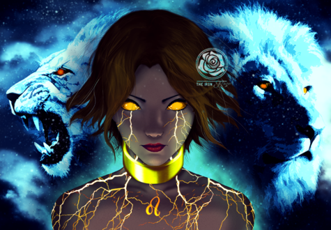 Фото Работа Dying Star / Умирающая звезда, девушка на фоне львов на небе, by theironroze