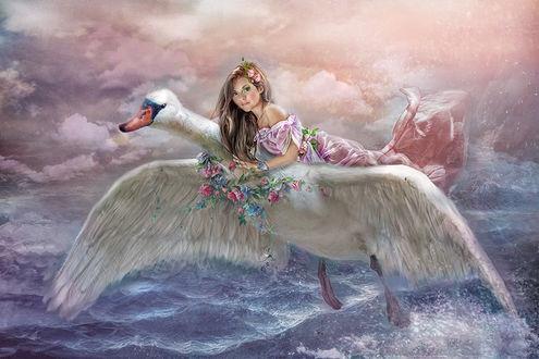 Фото Девушка летит на лебеде над морем, by Lotta-Lotos
