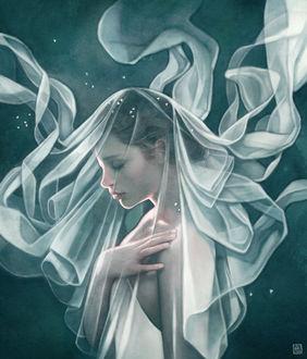 Фото Девушка накрыта прозрачной тканью, by escume