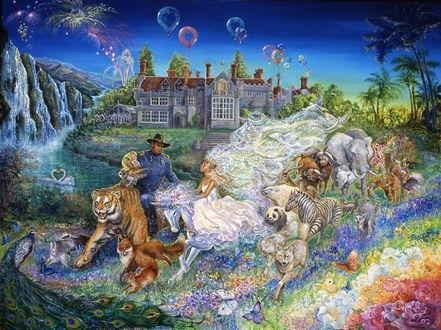 Фото Девушка на единороге и мужчина на тигре в окружении бегущих животных на фоне сказочного дворца, художница Джозефина Уолл / Josephine Wall