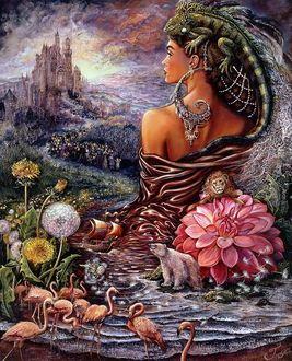 Фото Девушка с ящерицей на ней и образ мужчины на небе на фоне сказочного дворца, художница Джозефина Уолл / Josephine Wall
