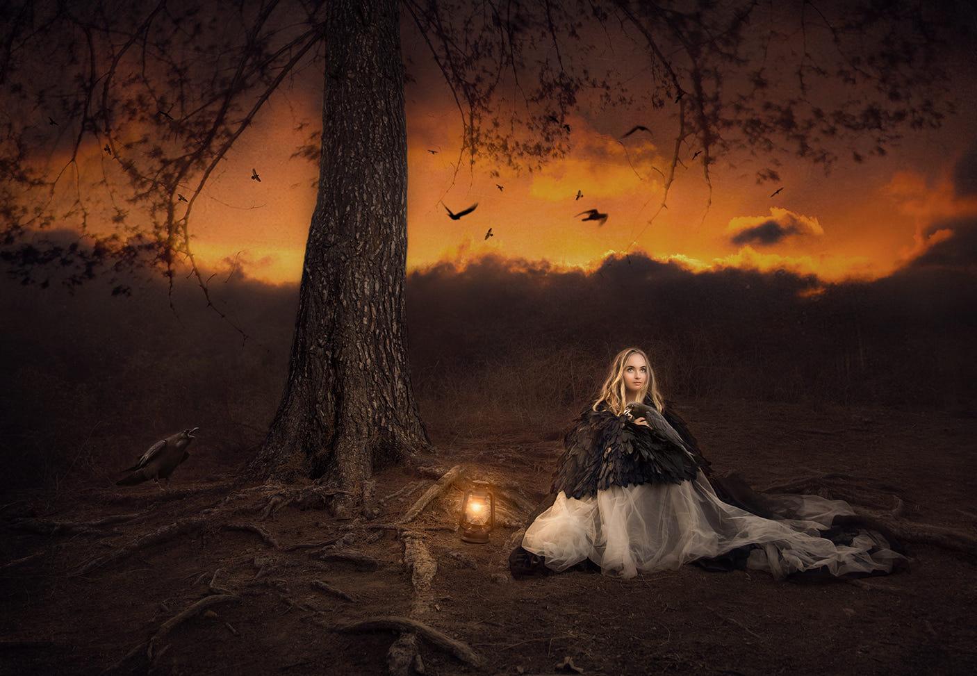 Фото Девушка сидит с горящим фонарем недалеко от дерева в ночь хеллоуина. Фотограф Jessica Drossin