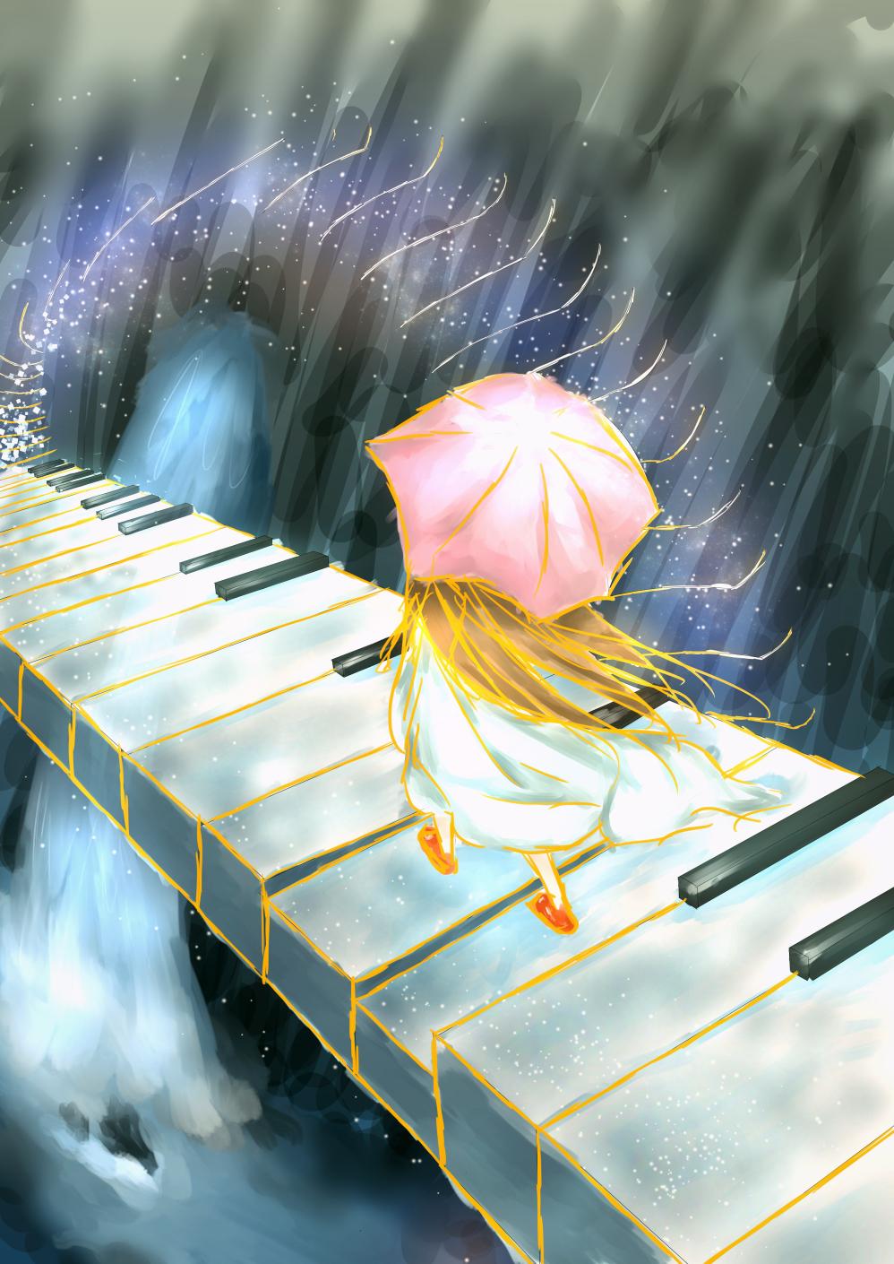 Фото Девочка с розовым зонтом шагает по клавишам пианино