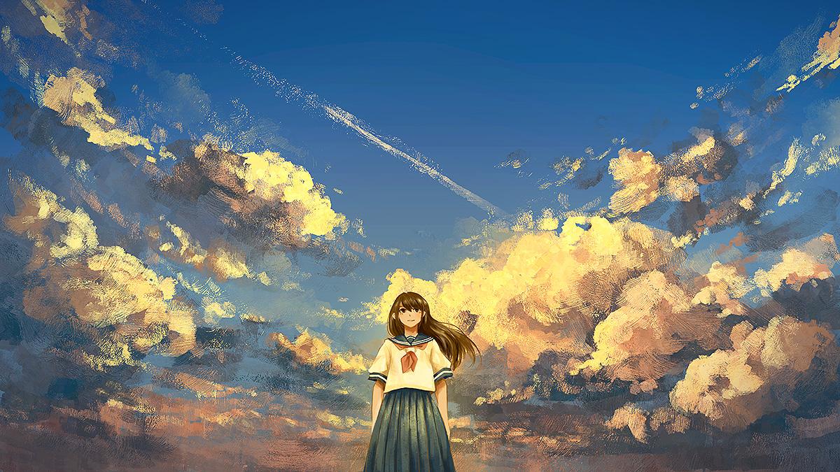 Фото Школьница на фоне облачного неба