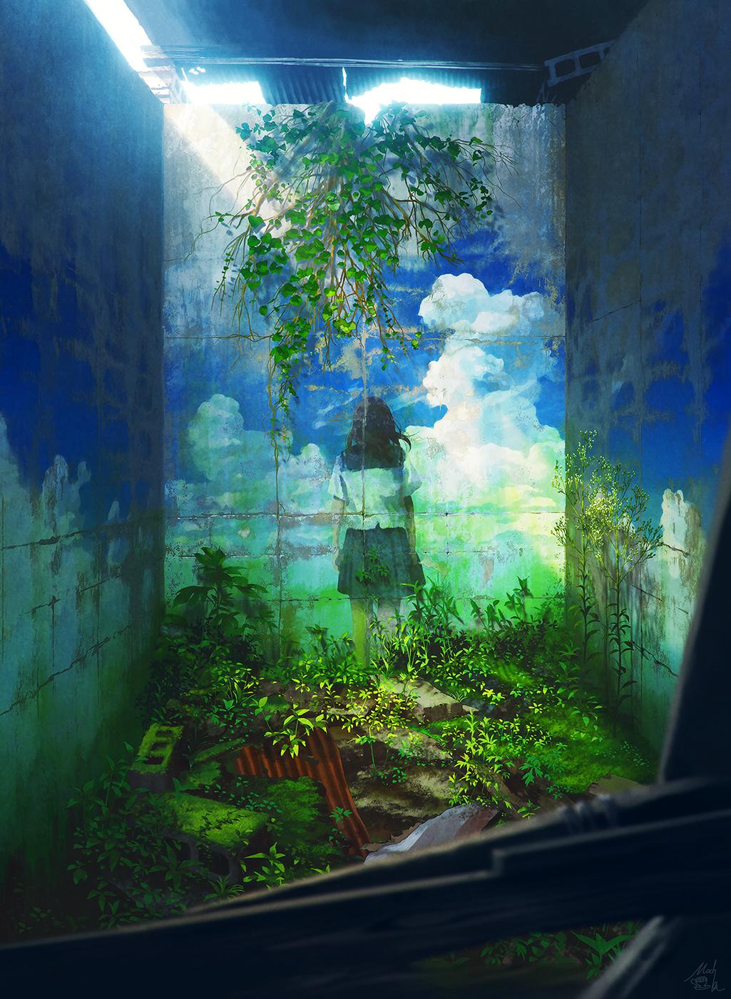 Фото На стене заброшенного здания нарисована девушка в школьной форме, стоящая на фоне облачного неба, by mocha