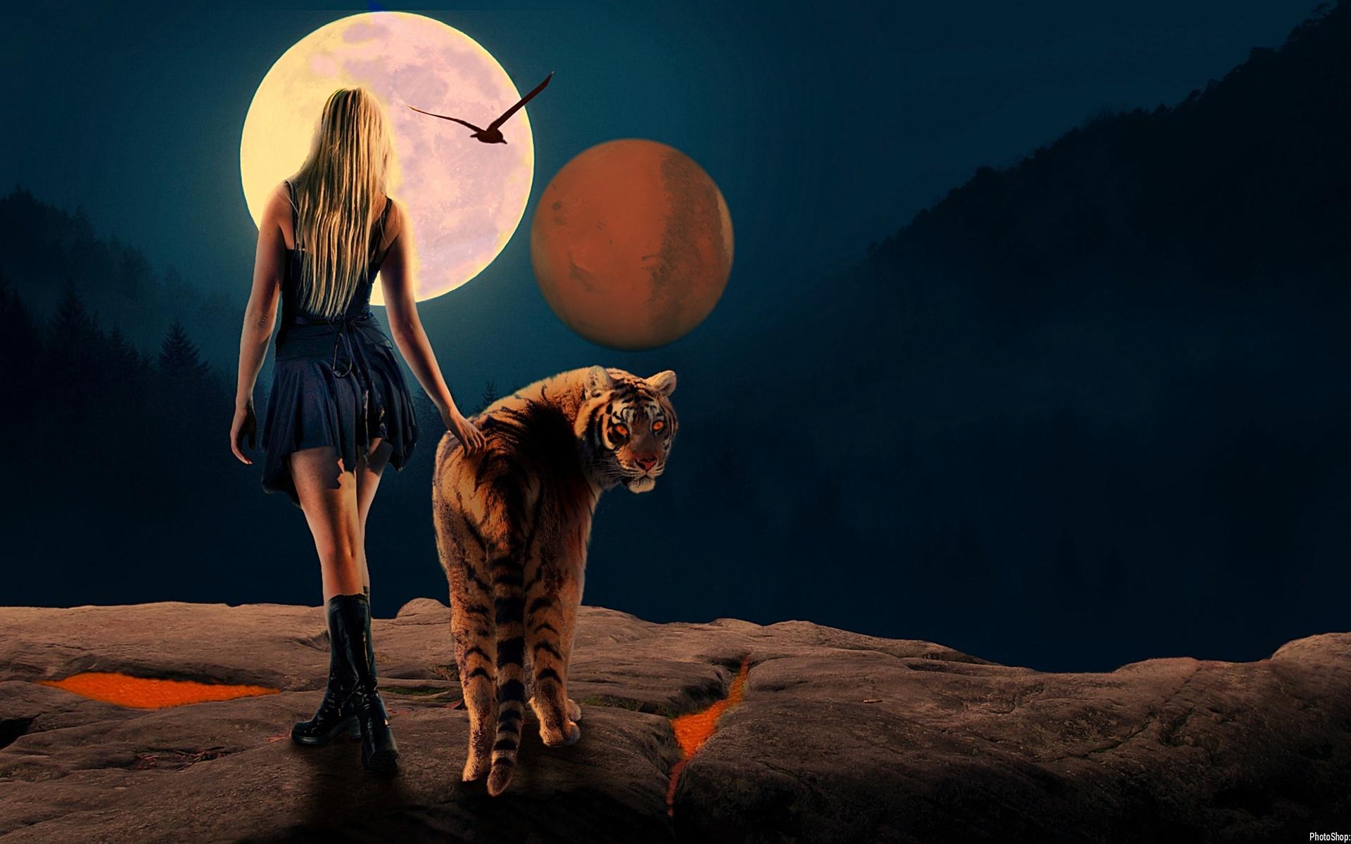 Фото Девушка идет рядом с тигром, в небе видны две луны