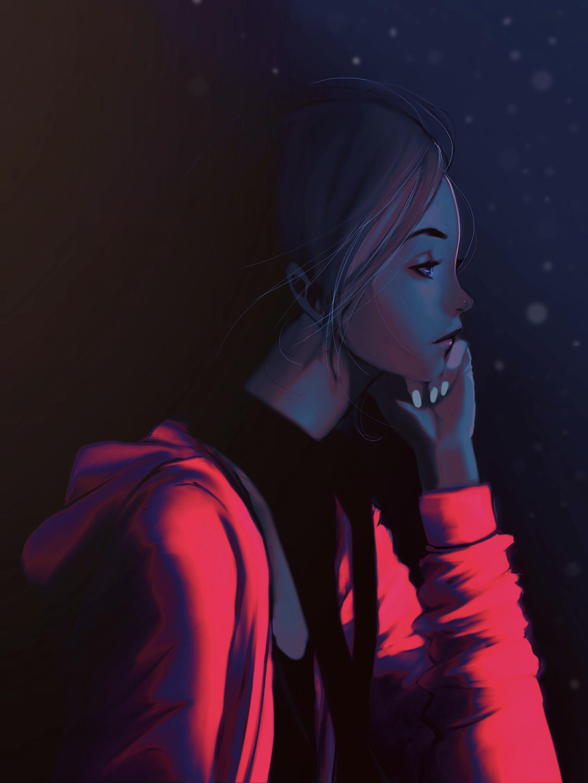 Девушка в толстовке арт