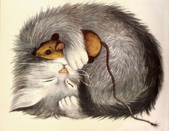 Открытка кошка с мышкой