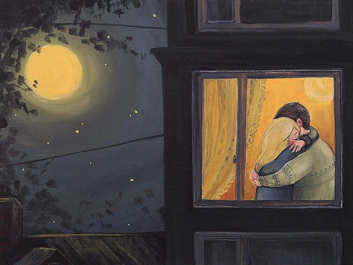 Фото Влюбленные за окном обнимают друг друга